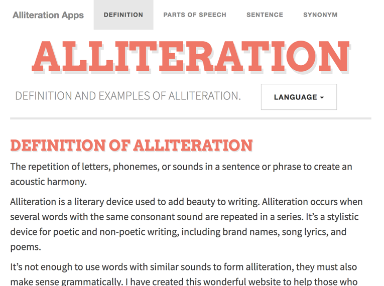 Alliteration Applications